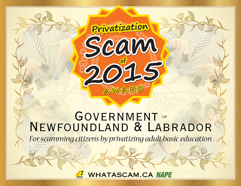 Certificate: Government of Newfoundland and Labrador is the 2015 Scammie winner.